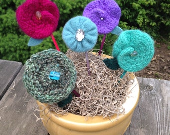 Hand knit and felted stick pins
