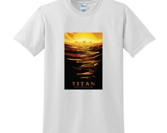 NASA Visions of the Future Titan Tshirt Space Travel Poster Space Tshirts Science Sci-Fi Fashion Birthday Present Gifts for Men NASA Tee