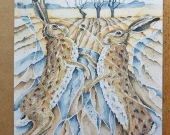 Brown Hare Greeting Card, 'Boxing Hares'.