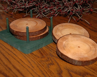 Rustic Log Drinking Coasters - Set of 4 with Cedar Holder