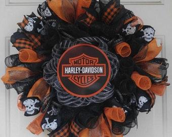 Harley Davidson mesh wreath, Harley Davidson door hanger, Harley Davidson, Harley Davidson decor