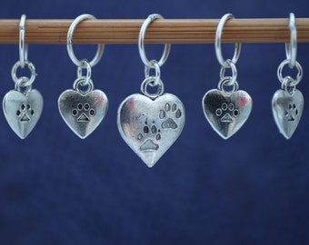 Hearts and Paws Stitch Marker Set, Gift for Knitters, Knitting Tools, Pet Lover Gift, Cat Lover Gift, Knitting Tools, Crochet Tools