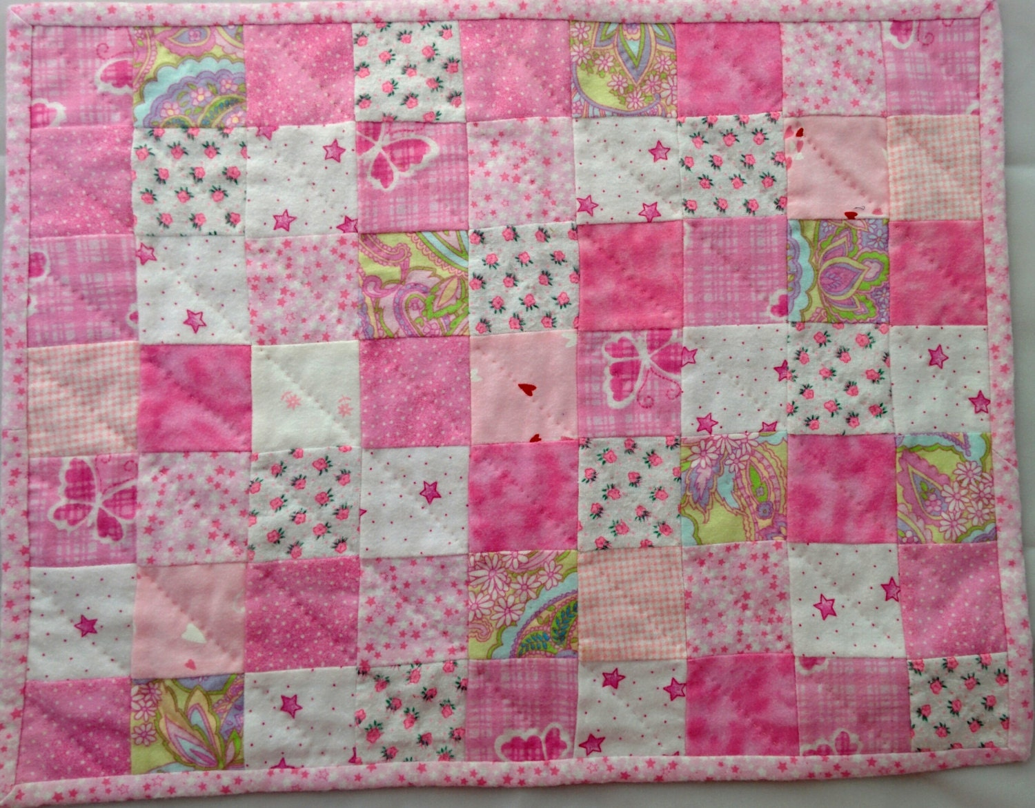 Quilted Flannel Doll Blanket by WaTurHillCreations on Etsy