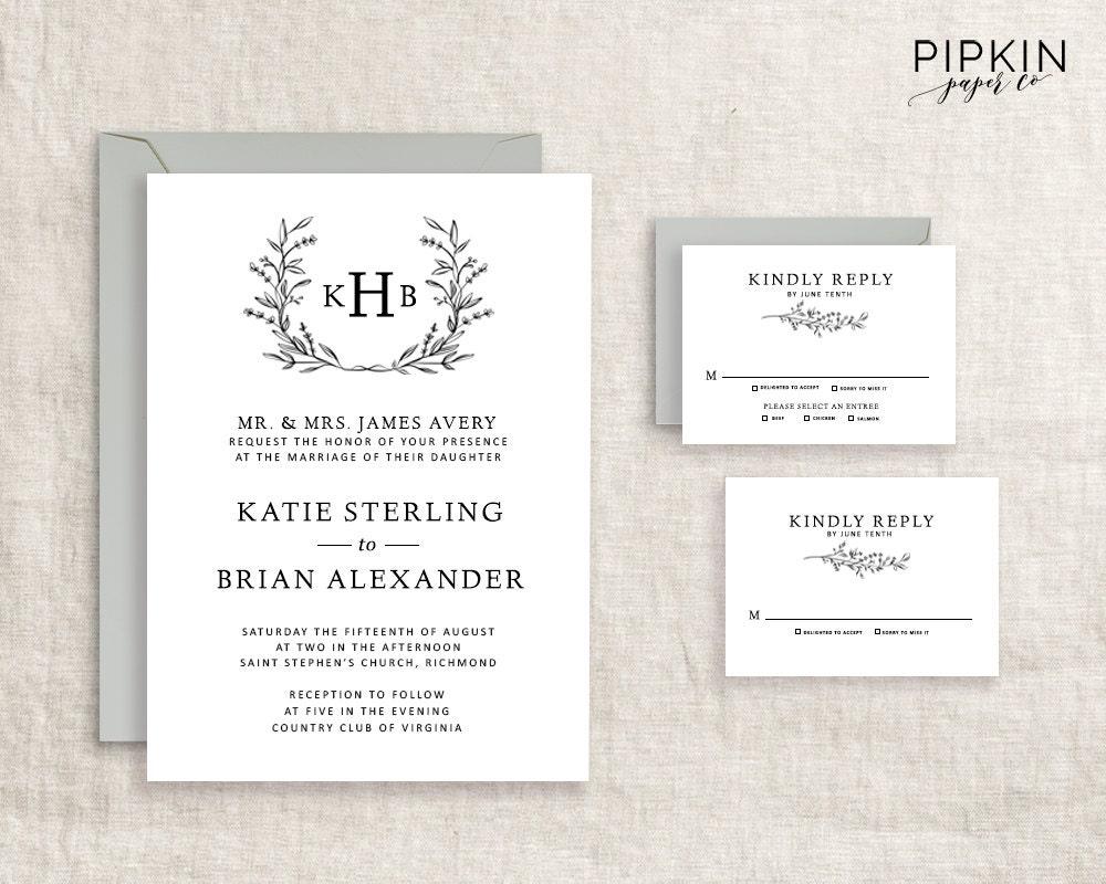 Initial Wedding Invitations: Monogram Wedding Invitation Template DIY Wedding Invite