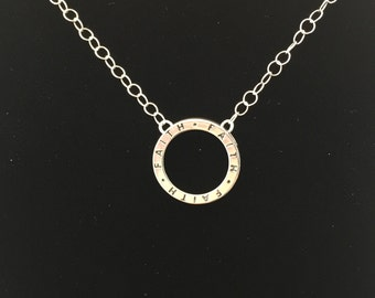 "Sterling Silver ""Faith"" Circle Necklace"