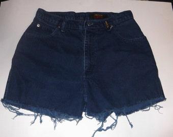 "HALF OFF! Sasson High Waisted Denim Dark Blue Jean Cut-Off Shorts 30"" Waist"