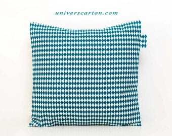 Square printed cotton fabric Cushion cover shapes geometric diamond blue duck on a white background