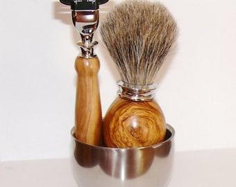 Set of shaving, Bowl, razor, Badger