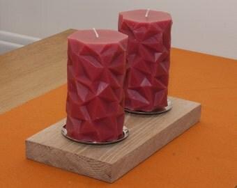 Solid Oak wood pillar candle holder