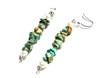 Rock and Pearl //turquoise/pearls/silver/earrings/dangle/handmade/stones/ woman's gifts/