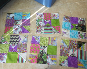 """9 Quilting Blocks Colorful Beautiful about 13"""" Home Sweet Home Pattern Fabric"""