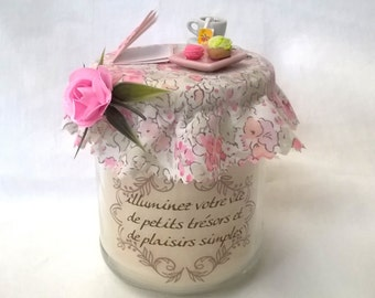 "Candle ""brighten up your life with little treasures and simple pleasures"""