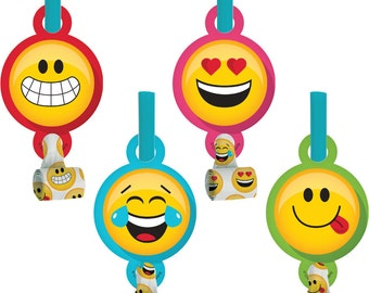 Emoji Blowouts [8ct] Smiley Face Emoiticon Birthday Party Supplies Favors Prizes Loot