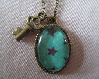 Pendant cabochon stars rain necklace