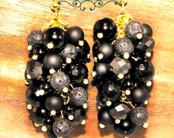 Onyx Earrings - Black Earrings - Boho Earrings - Crystal Earrings - Charm Earrings - Cluster Earrings