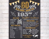 60th Birthday Chalkboard Poster Sign, 60 Years Ago Back in 1957 USA Events, Gold & White, Instant Download Digital Printable File - 301