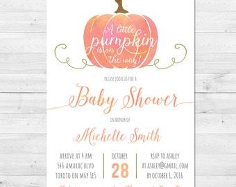 Baby Shower Invitation Girl, Fall Baby Shower Invitation, Pink Pumpkin Baby Shower Invitation, Gender Neutral, Little Pumpkin, Rustic
