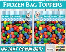 50% OFF - Frozen Party Bag Toppers, Frozen Bags Topper, Frozen Bags, Frozen Party, Bag Topper Printable, Party Frozen, Olaf Topper