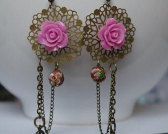 Leaves Pink Purple Pearl Earrings