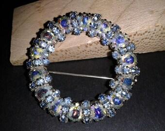 Weiss Vintage Blue Aurora Borealis Brooch