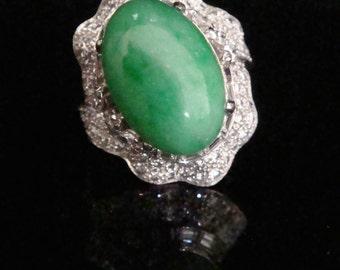 Art deco platinum jade and diamond 3.12ct bespoke ring