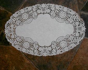 2 Vintage White Paper Lace Doilies-Oval Paper Lace Doilies-Crafts, Cards, Weddings, Scrapbooks,