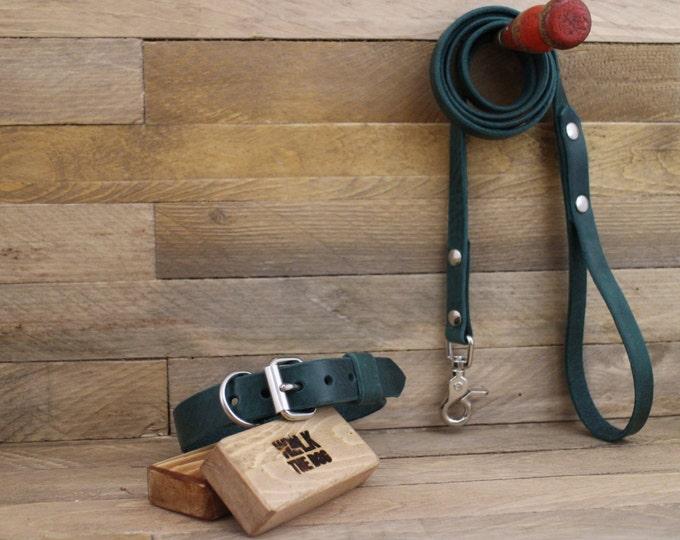 Leather leash, Green leash, Dog leash, Gift, Rustic leather leash, Leather lead, Lead, Strong leash, Dog gift, Forest leash