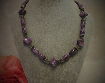 Purple Charoite and Bali Silver Necklace