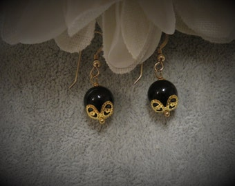 Onyx Earrings with Gold Ear Wires and Caps