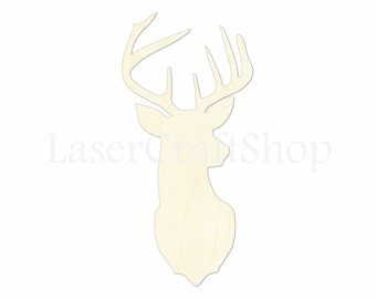 "2"" - 34"" Deer Elk Head Wooden Cutout Shape, Silhouette, Gift Tags Ornaments Laser Cut Birch Wood  #1056"
