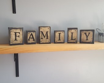 family letters, family sign, rustic decor, burlap decor wooden blocks