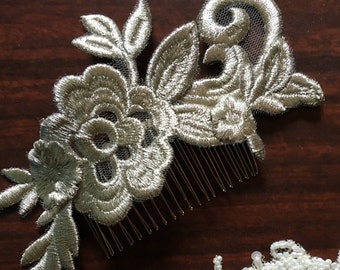 Gold embroidery bridal formal lace wedding hair comb