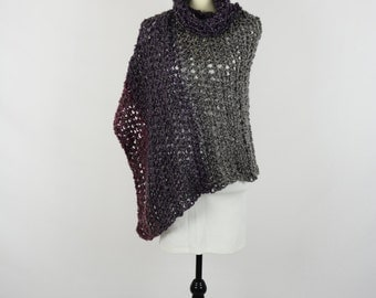 Poncho Crochet - Classic Piece in Gemstone Stripes with Cowl Neck