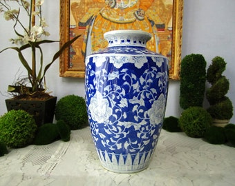 Vintage Vase Blue And White  Chinoiserie Chinese Asian Floral
