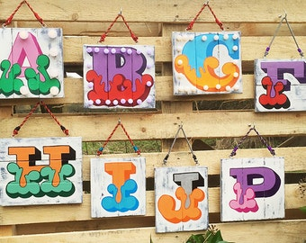 Hand Painted Alphabet Letter Sign