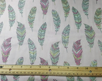 Feather Doodle Fabric, By the Yard or Fat Quarter, FQ, Pastel, Zen Doodle, Feather Fabric, Drawing, Light Pink, Zen Doodle Colored