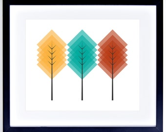 Geometric Colorful Trees Printable Wall Decor - Instant Download