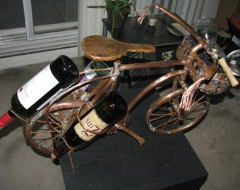 Bicycle lovers copper wine rack