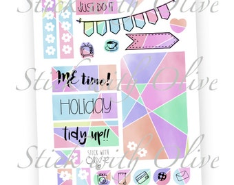 Geometric Pastel Planner Stickers