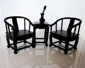 Traditional Chinese wooden fauteuil model set 2  (miniature) - superior rose wood  -padauk wood