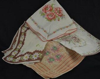 Ladies vintage handkerchief's in shades of brown