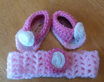 Girl sandals and headband,6-9mths