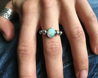 Sterling Silver Genuine Opal Ring