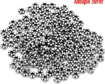 500 Antique Silver Daisy Spacer Beads 3mm (B2e)