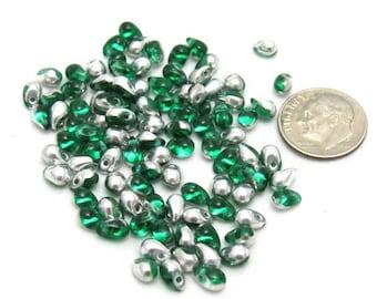 1 Strand Czech Glass Tear Drops 6/4mm - Silver/Emerald