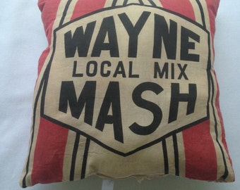 Vintage Feed Sack Throw Pillow--Vintage Wayne Feed, grain sack, rustic home decor, farmer chic, sofa pillow, antique quilt back