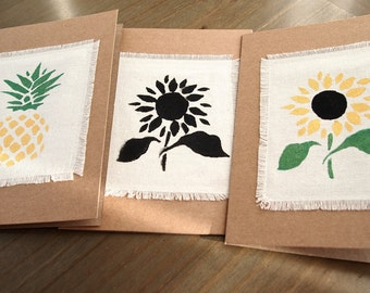 Cards 3 pack - Vintage pineapple and sunflower - Hand-painted - Handmade - any occasion card pack - birthday card pack