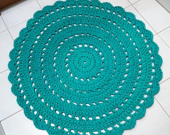 85cm Aqua/Blue Crocheted Round  Doily Rug/ Accent rug - ready to ship