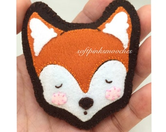 NOW 50% OFF! Handmade Felt Fox Brooch/Sleepy Fox Felt Pin