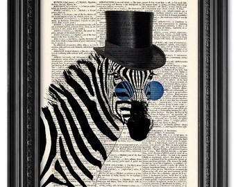 Zebra fun print, Funny animal, Steampunk zebra poster, Dictionary art print, Antique book print, geekery poster, Home Wall Decor [ART 032]